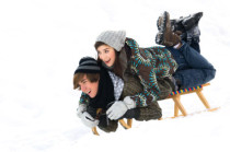 Wintersportgerät Werbedruck, Werbung Wintersport, Werbeschlitten Creativ Promotion